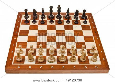 Chess Pieces Placed On Board