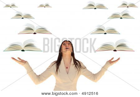 Girl With Flying Books