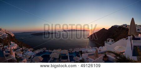 Sunset And Beautiful Mediterranean Sea In Santorini