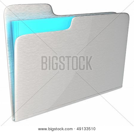 Abstract Brushed metal folder with blue light glass content. Brushed. poster