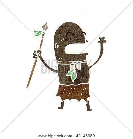 retro cartoon tribesman