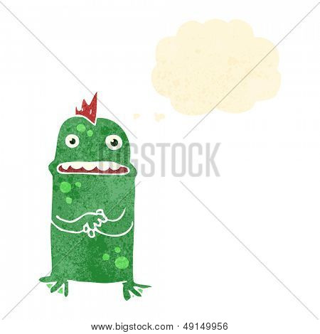 retro cartoon shy swamp monster poster