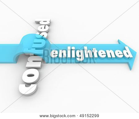 The word Enlightened on an arrow over the word Confused to illustrate how enlightenment can lead the way to a peaceful life of understanding through knowledge or religion