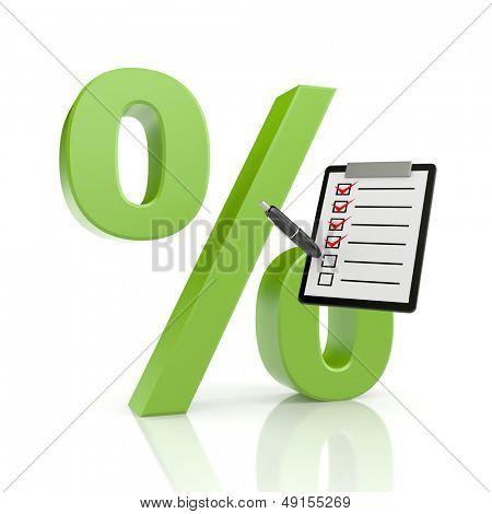 Percent symbol with clipboard