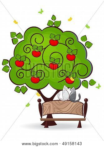cat sitting on a bench under an apple tree and look for butterflies poster