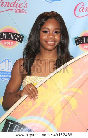 LOS ANGELES - AUG 11:  Gabby Douglas in the 2013 Teen Choice Awards Press Room at the Gibson Ampitheater Universal on August 11, 2013 in Los Angeles, CA