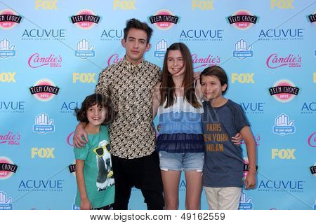 LOS ANGELES - AUG 11:  Kevin McHale, niece, nephews at the 2013 Teen Choice Awards at the Gibson Ampitheater Universal on August 11, 2013 in Los Angeles, CA