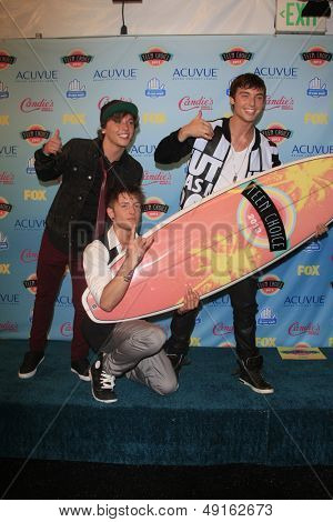 LOS ANGELES - AUG 11:  Emblem3 in the 2013 Teen Choice Awards Press Room at the Gibson Ampitheater Universal on August 11, 2013 in Los Angeles, CA