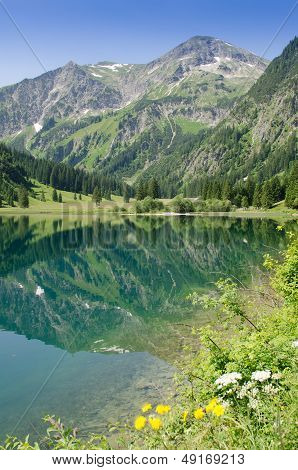 Reflection Of A Mountain In The Lake Vilsalpsee
