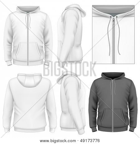 Photo-realistic vector illustration. Men's zip hoodie design template (front view, back and side views). Illustration contains gradient mesh.