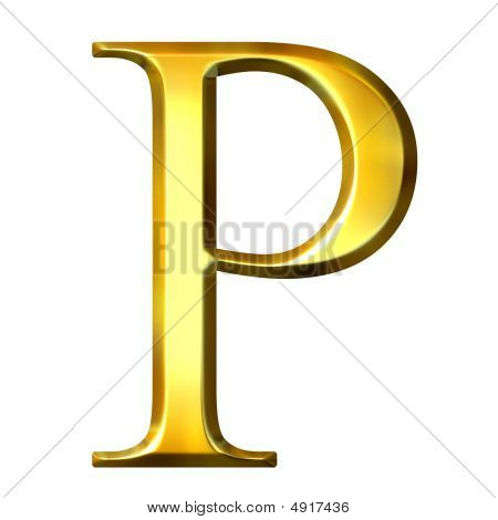 3D Golden Greek Letter Rho