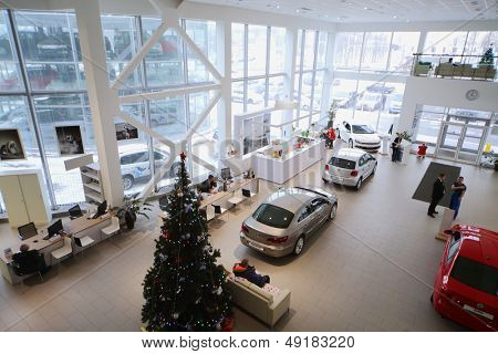 MOSCOW - JAN 11: Top view of the foyer with a reception and cars of Volkswagen Varshavka Center January 11, 2013, Moscow, Russia. Building of the Center contains a three floor