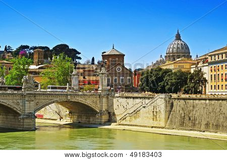 ROME, ITALY - APRIL 18: View of Ponte Vittorio Emanuele II on April 18, 2013 in Rome, Italy. The bridge across the Tiber connects the historic center of Rome with the rione Borgo and the Vatican City