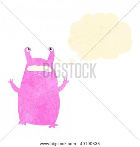 retro cartoon alien slug monster poster