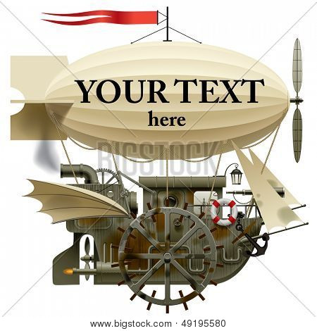Vector isolated image of the complex fantastic flying ship with machinery, dirigible, sail, wings, water-wheel, spyglass and other equipment
