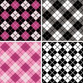 "Four seamless repeating argyle-plaid pattern in black white and magenta. 6"" repeat. poster"