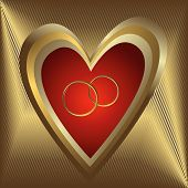 Golden striped banner with heart and rings poster