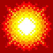 8-Bit Pixel-art Explosion on a Red Background poster