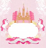 fairy castle appearing from the book - abstract frame vector illustration poster