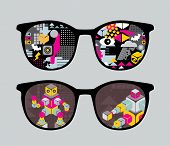 Retro sunglasses with robots reflection in it. Vector illustration of accessory - eyeglasses isolated. poster