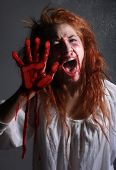 Woman in Horror Situation With Bloody Face poster