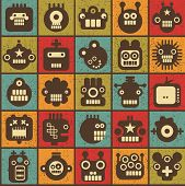 Robot and monsters cell seamless background in retro style. Vector texture. poster