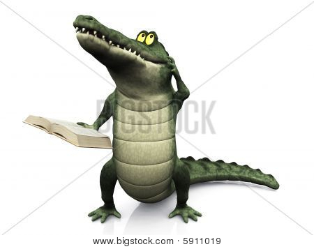 Cartoon Crocodile Reading Book And Scratching His Head.