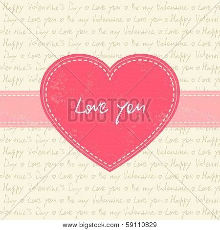 Valentine's day card with pink heart