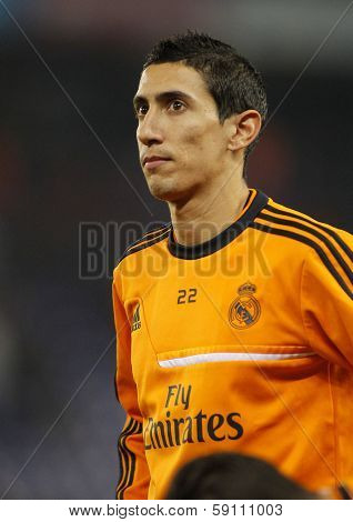 BARCELONA - JAN, 12: Angel di Maria of Real Madrid during the Spanish League match between Espanyol and Real Madrid at the Estadi Cornella on January 12, 2014 in Barcelona, Spain