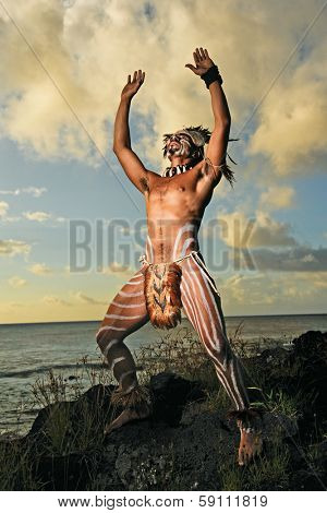 CHILE - FEBRUARY 5: Portrait of Easter Island male in traditional Rapa Nui warrior dress on February 5, 2012.
