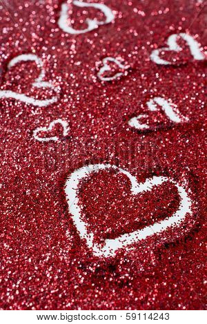 Heart Shapes On Glitter