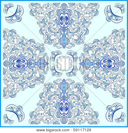 pattern for ornamental tablecloth with blue open-work