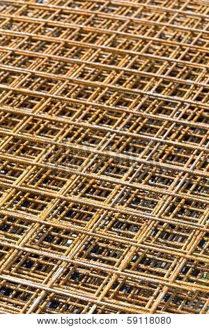 Stack of steel rebar grids for reinforcing concrete poster