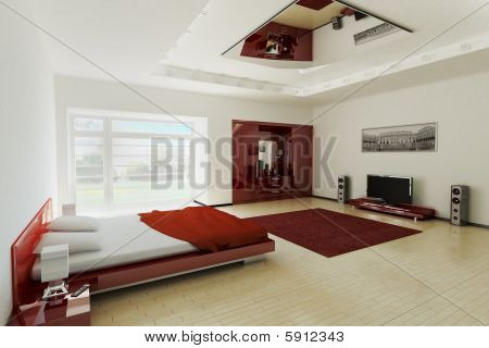 Modern bedroom interior  with lcd tv 3d render poster