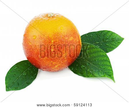 Blood Orange With Green Leaves Isolated On White Background.