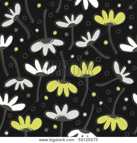 Green gray messy floral pattern with dots doodle seamless pattern on dark background poster
