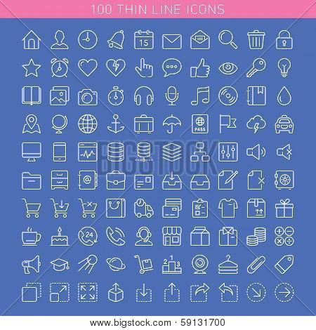 100 Thin Line Icons