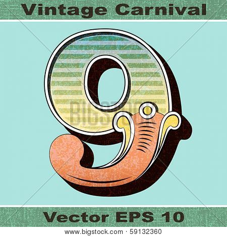 The Number 9, Nine of an Alphabet Sit of Vintage, Carnival, Circus, Funfair, Fishtail Letters and Numbers.