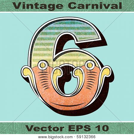 The Number 6, Six of an Alphabet Sit of Vintage, Carnival, Circus, Funfair, Fishtail Letters and Numbers.