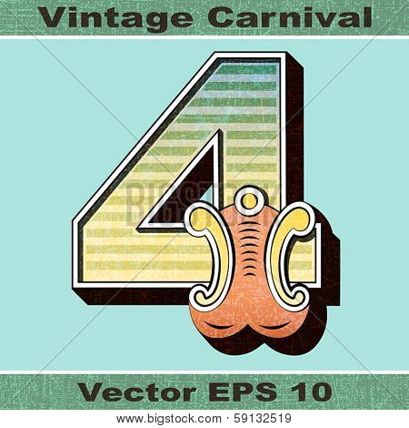 The Number 4, Four of an Alphabet Sit of Vintage, Carnival, Circus, Funfair, Fishtail Letters and Numbers.
