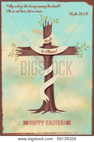 Religious Easter Poster - Vintage style religious Easter poster, with cross-shaped sprouting tree, quotation from Gospels and Easter greeting, against the bright blue sky