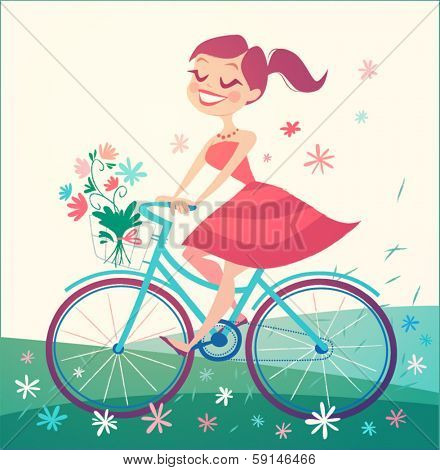 Girl is riding bike on spring field. Vector illustration.