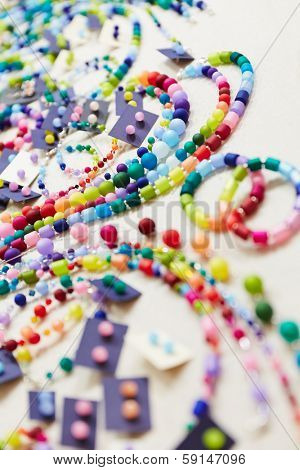Selection of colorful accessoires at jewelry store