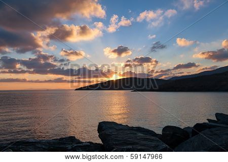 Sunrise in harbor of greek island Kythnos at Cyclades