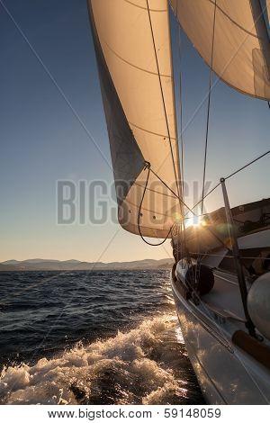 Sailboat Crop At Sunset Ocean