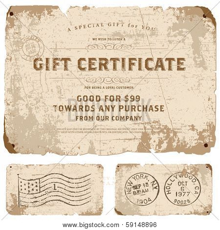 Vector vintage gift certificate template set. Great for retro diplomas, certificates, and awards.