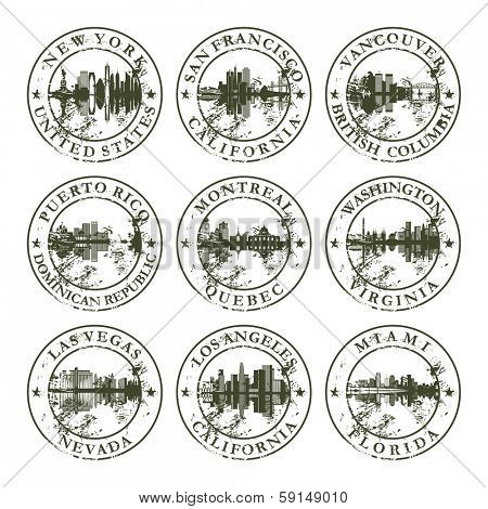 Grunge rubber stamps with New York, San Francisco, Vancouver, Puerto Rico, Montreal, Washington, Las Vegas, Los Angeles and Miami - vector illustration