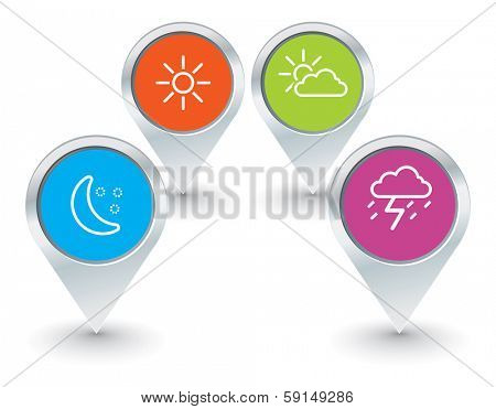 set of map pointers with weather icons - vector illustration