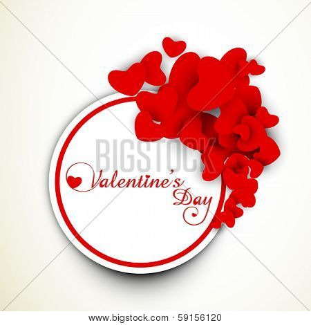 Happy Valentines Day celebration concept with red heart shape tag, sticker or labels.