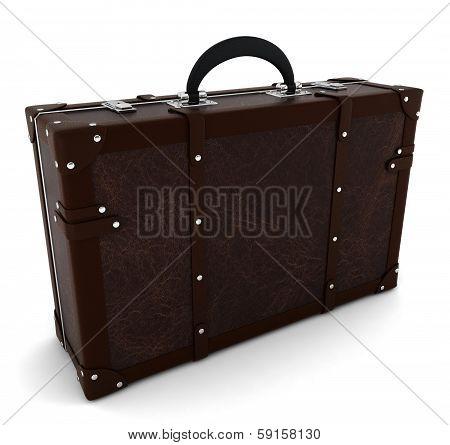 Vintage travel suitcase. 3d illustration on white background poster